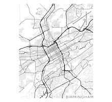 Birmingham Map, USA - Black and White Photographic Print