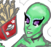 Aliens and Fries Sticker