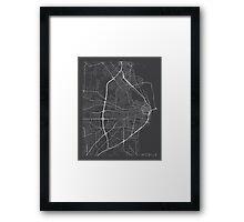 Mobile Map, USA - Gray Framed Print