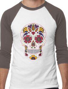 Day of the Dead Sugar Skull Dark Men's Baseball ¾ T-Shirt