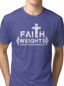 Faith Weights and Protein Shakes - Christian Fitness Gym T Shirt Tri-blend T-Shirt