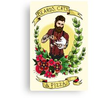 Beards, Cats, and Pizza Canvas Print