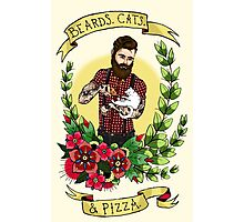 Beards, Cats, and Pizza Photographic Print