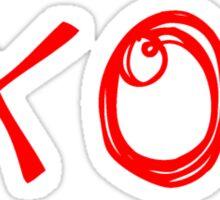 Red XO Heart Doodle Sticker