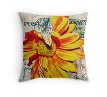 Gerbera Daisy on Vintage Postcard Throw Pillow
