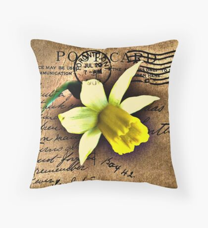 Daffodil on Vintage 1909 Postcard Throw Pillow