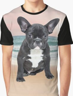 Cute French Bulldog Beach Sun Water Graphic T-Shirt