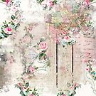 Vintage Paper With Pik Roses & Partial Maps by artonwear