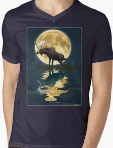 Moose Moon Mens V-Neck T-Shirt