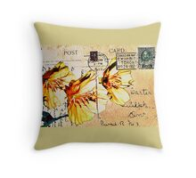 Himalayn Dandelion on Vintage 1912 Postcard Throw Pillow