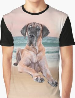 Cute Great Dane Dog Sitting on Beach Graphic T-Shirt