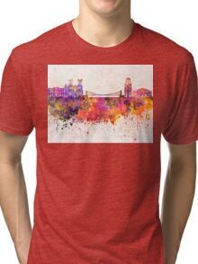 Bristol skyline in watercolor background Tri-blend T-Shirt