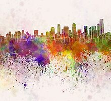 Seattle skyline in watercolor background by paulrommer