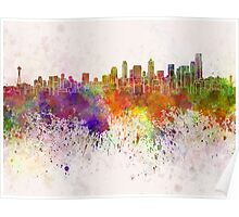 Seattle skyline in watercolor background Poster