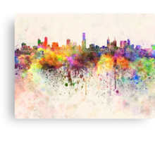 Melbourne skyline in watercolor background Canvas Print