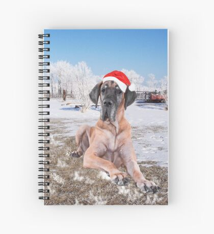 Cute Great Dane Dog Sitting In Snow Christmas Hat Spiral Notebook