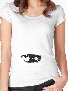 Napping Tuxedo Cat Women's Fitted Scoop T-Shirt