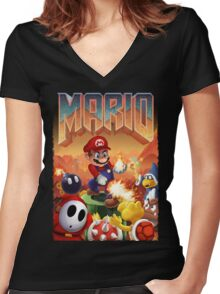 Mario's Doom Women's Fitted V-Neck T-Shirt