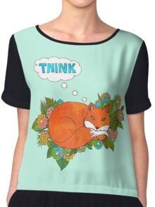Think Outside the Fox Chiffon Top