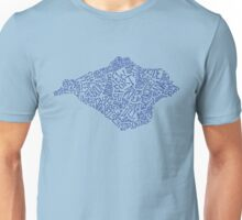 Hand drawn Isle of Wight map - navy blue Unisex T-Shirt