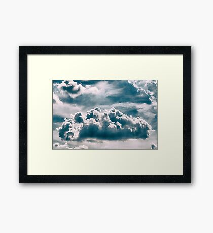 White Cumulus Clouds On Blue Sky Framed Print