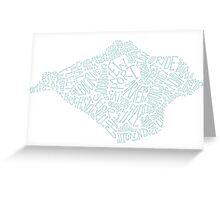 Isle of Wight area text map in Duck Egg Blue Greeting Card