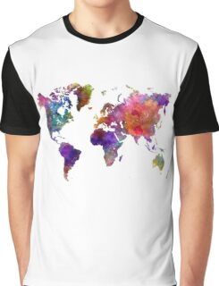 World map in watercolor  Graphic T-Shirt