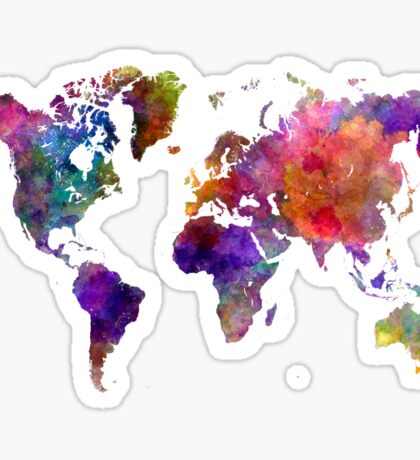 World map in watercolor  Sticker