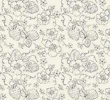 Seamless pattern of bright strawberry by Kotkoa