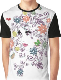 Summer Girl with Floral  Graphic T-Shirt