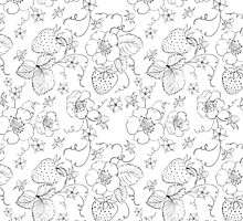 Seamless pattern of bright strawberry by Kotkoa