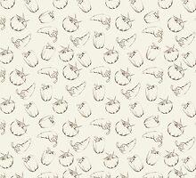 Vegetable pattern on beige background by Kotkoa