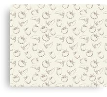 Vegetable pattern on beige background Canvas Print