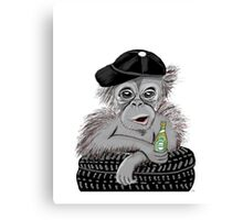 chimpansee with beer Canvas Print