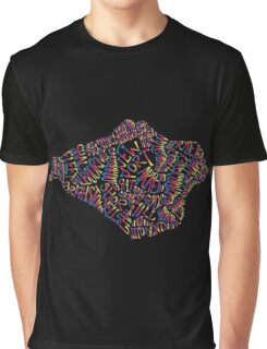 Isle of Wight text map in rainbow colours Graphic T-Shirt