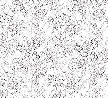 Seamless grape pattern black and white by Kotkoa