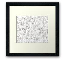 Seamless grape pattern black and white Framed Print
