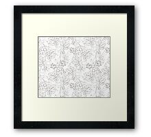 Seamless grape pattern black and white Framed Print