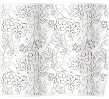 Seamless grape pattern black and white Poster