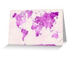World map in watercolor pink Greeting Card