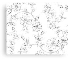 Elegant monochrome flowers fabric. Canvas Print