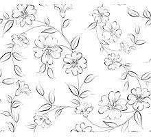 Elegant monochrome flowers fabric. Photographic Print