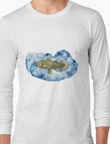 Coelacanth in a splash of watercolour Long Sleeve T-Shirt