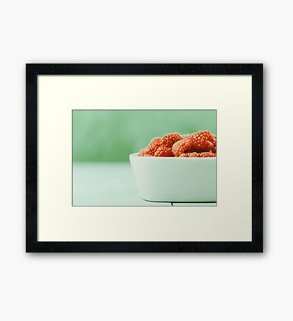 Bowl Of Fresh Raspberries Framed Print