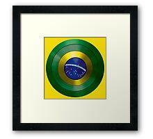 CAPTAIN BRAZIL - Captain America inspired Brazilian shield Framed Print