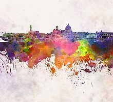 Florence skyline in watercolor background by paulrommer