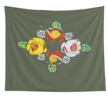 Canal flowers in the rain  Wall Tapestry