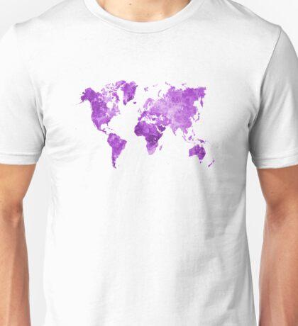 World map in watercolor purple Unisex T-Shirt