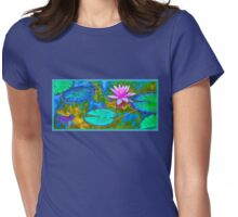 Lily Pad Lotus Blossom Womens Fitted T-Shirt