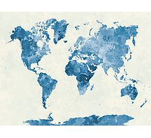 World map in watercolor blue Photographic Print